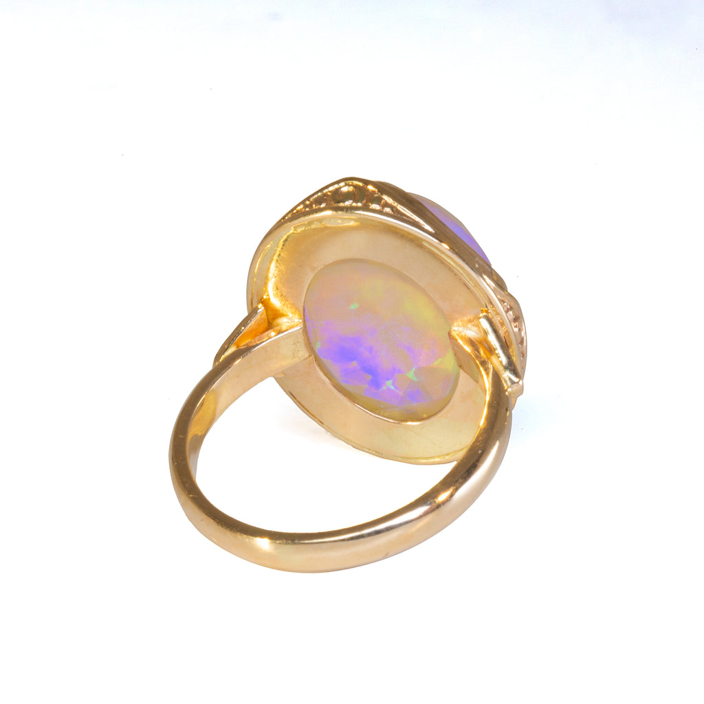 Opal Faceted Rosecut 9.32 carat Handcrafted 14k Ring