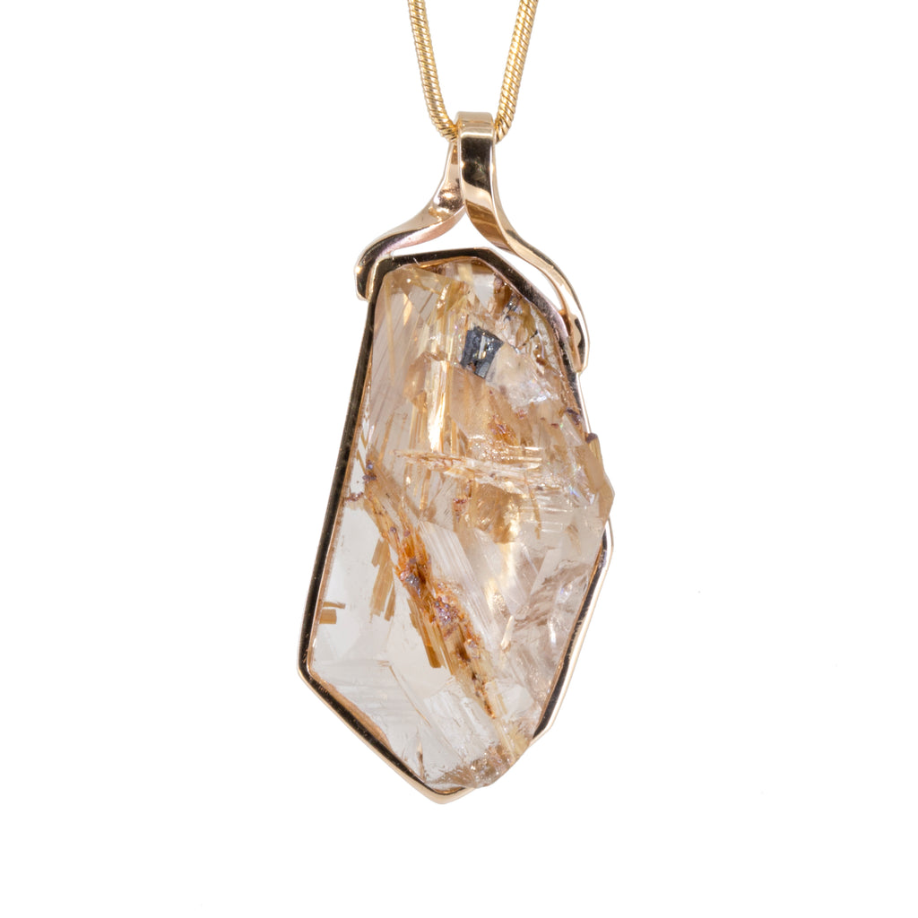 Rutilated Quartz 33.86 carat Rugged Natural Crystal 14k Handcrafted Pendant
