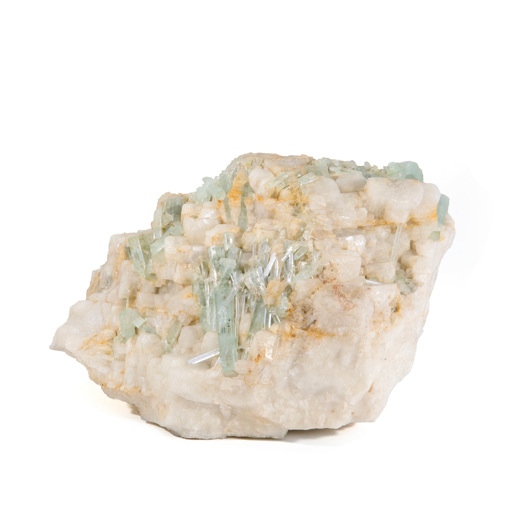 Aquamarine In Feldspar with Garnet 10.4lb 9 inch Natural Crystal Specimen - Pakistan