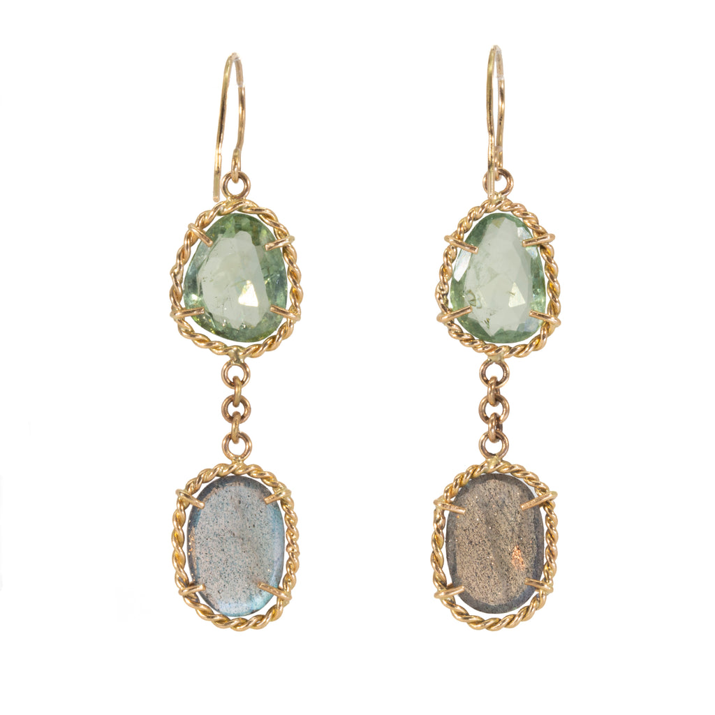 Green Tourmaline and Labradorite 14k Handcrafted Earrings
