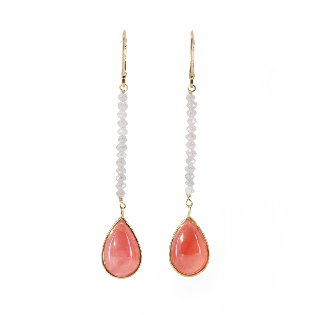 Rhodochrosite 15.07 carat Briolette with Diamond 14k Handcrafted Earrings