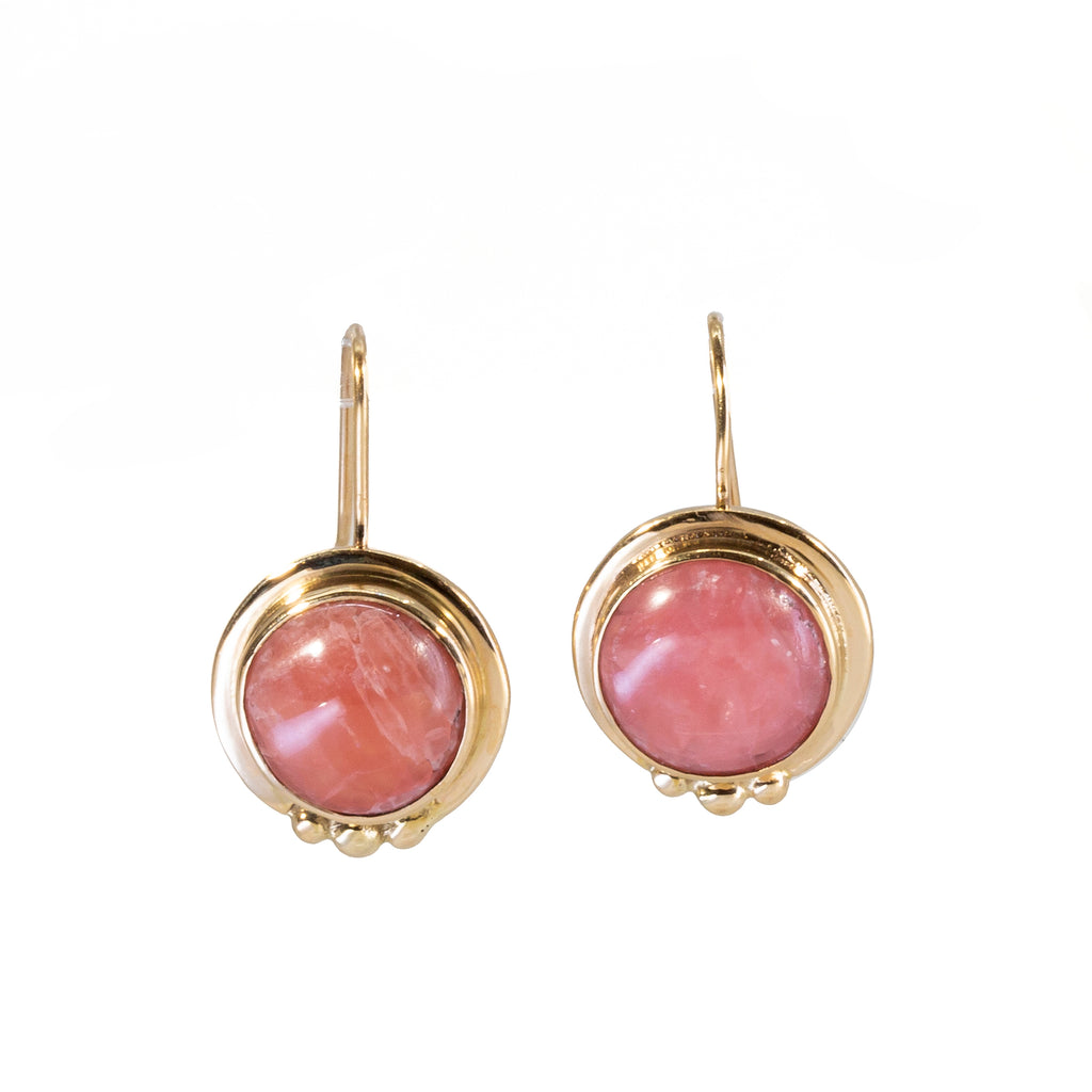 Rhodochrosite Round Cabochon 14k Handcrafted Earrings