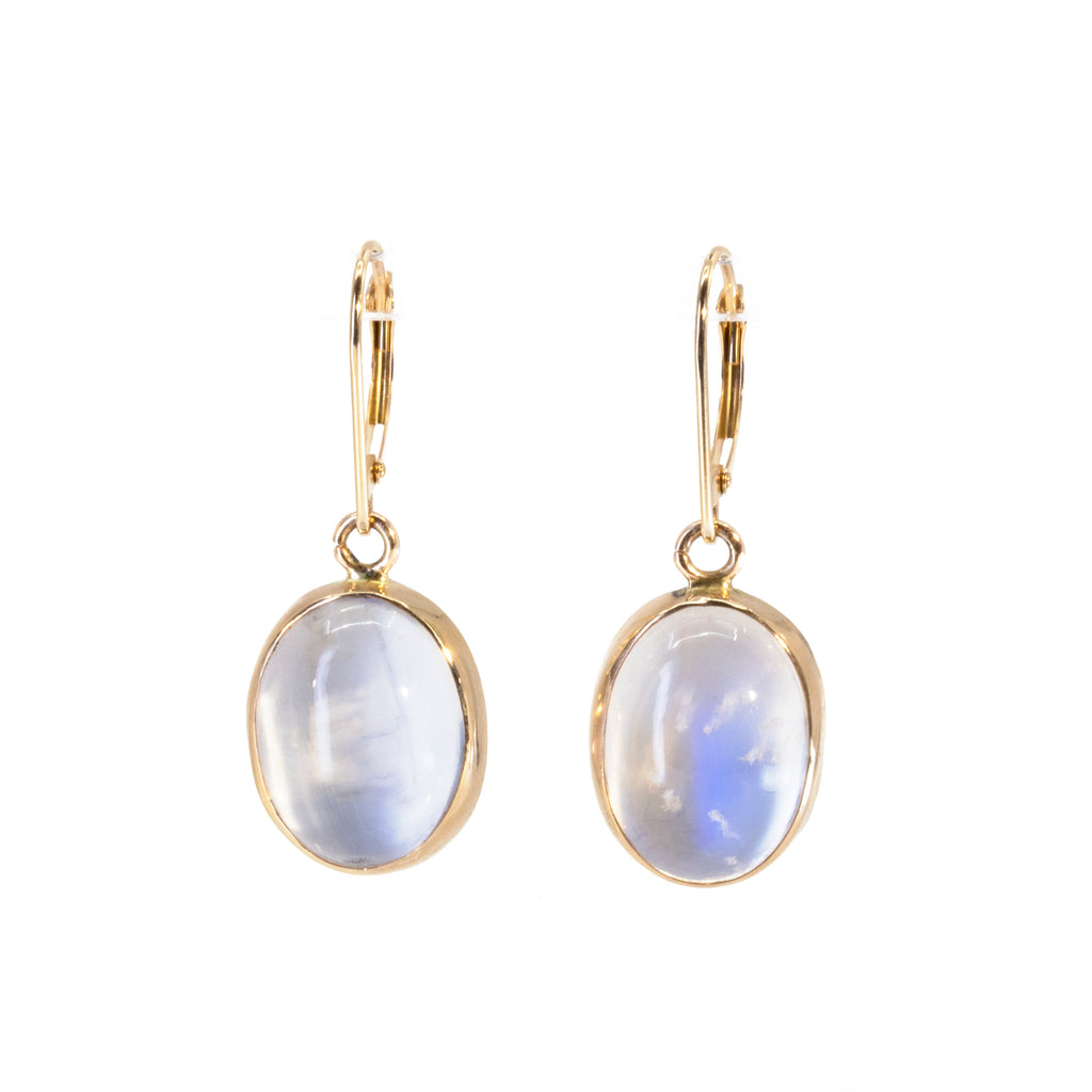 Blue Moonstone 16.4 carat Oval Cabochon 14k Handcrafted Earrings