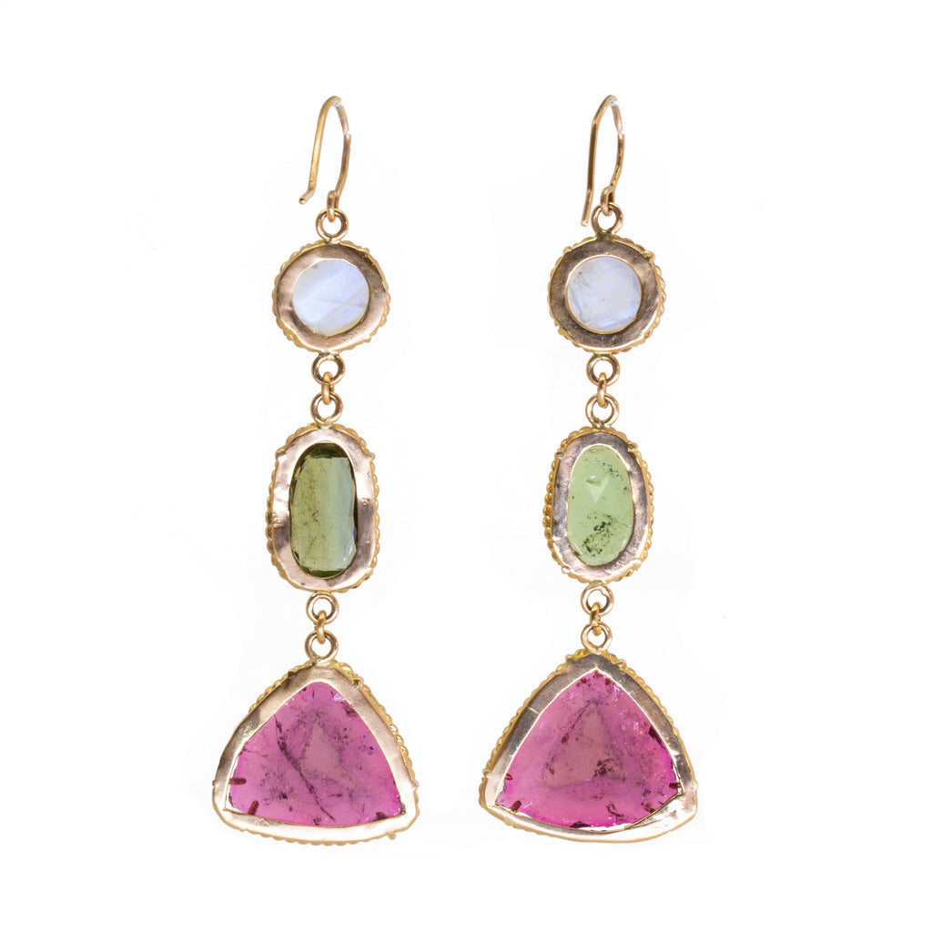 Moonstone with Green and Pink Tourmaline 14k Handcrafted 3 Tier Earrings