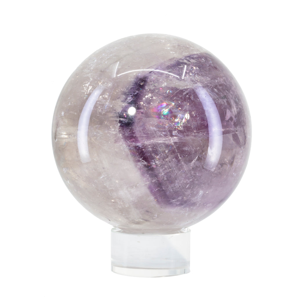 Amethyst and Quartz Phantom 3.6 inch 2.5 lb Polished Sphere - Brazil