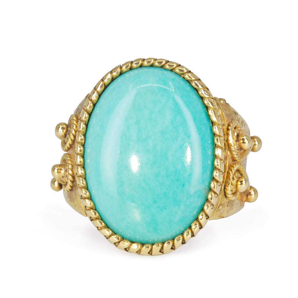 Persian Turquoise 5.57 carat Handcrafted 18k Russian Bezel Ring