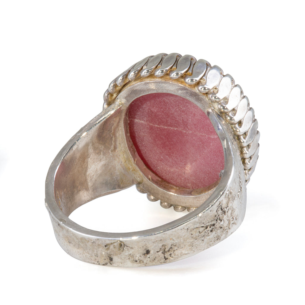 Rhodonite 12.56 carat Cabochon Sterling Silver Handcrafted Russian Bezel Ring