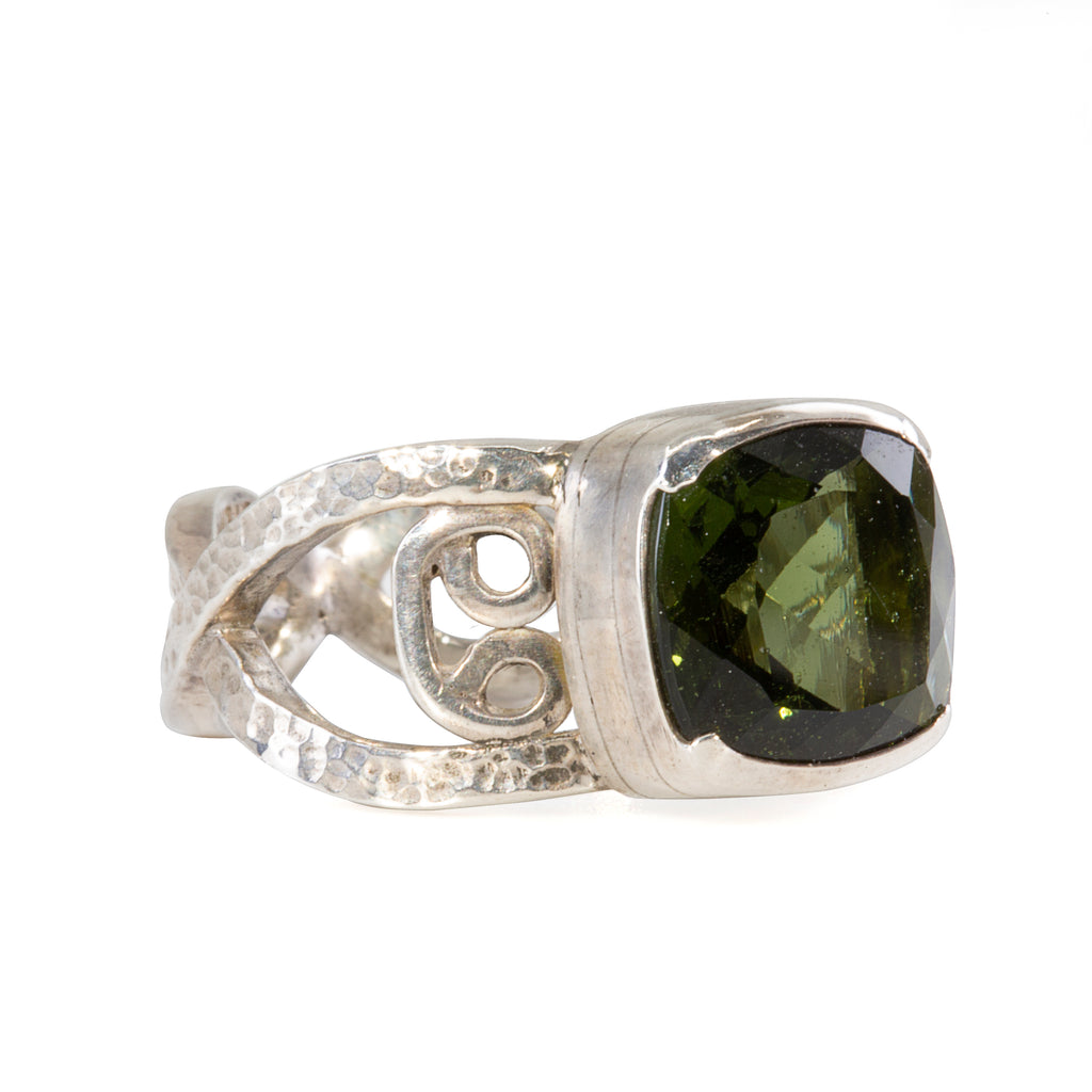 Moldavite 3.46 ct Handcrafted Sterling Silver Faceted Gemstone Ring
