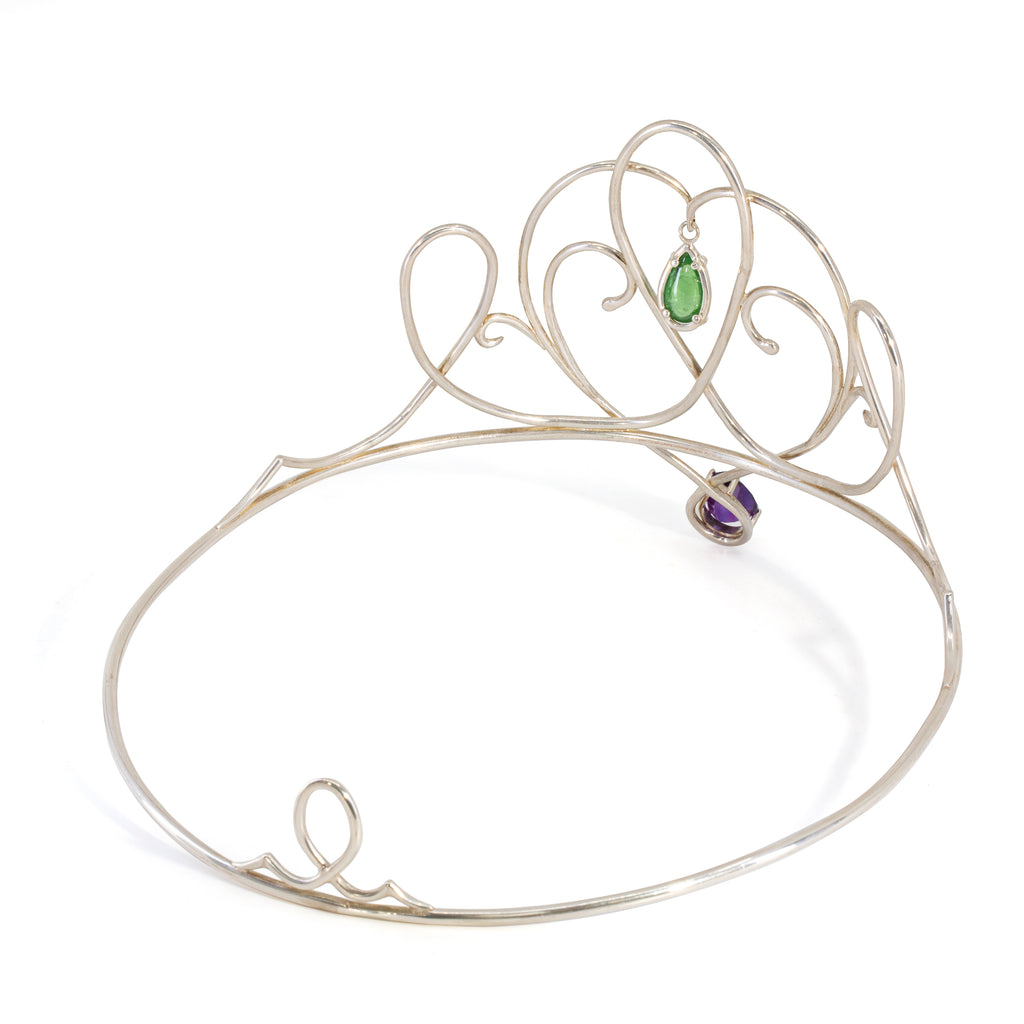 Amethyst with Tsavorite Garnet Handcrafted Sterling Silver Crown