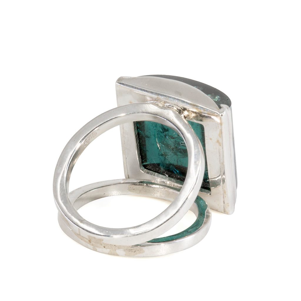 Blue Tourmaline 22.49 carat Cabochon Handcrafted Sterling Silver Ring