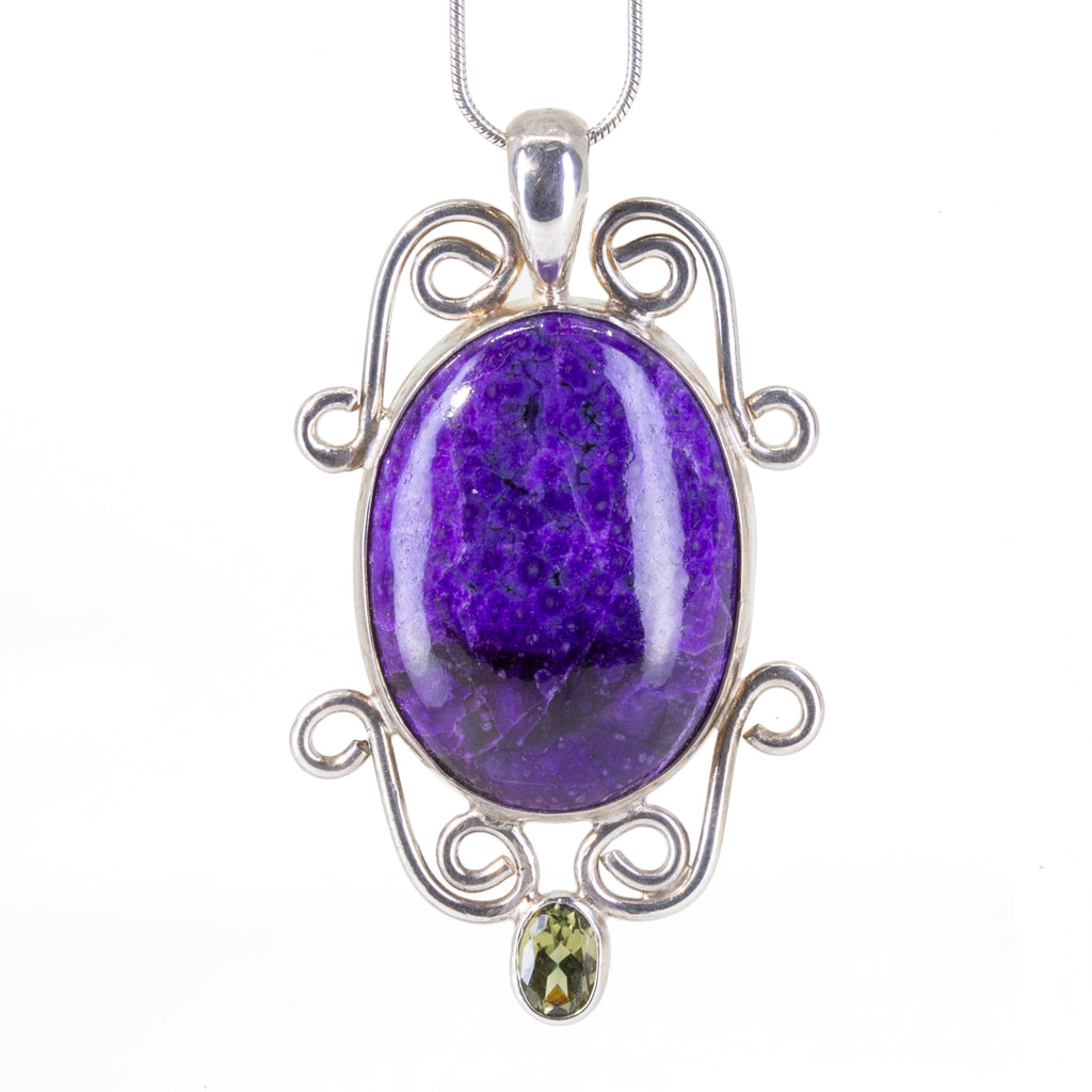 Sugilite 19.15 carat with Green Tourmaline Handcrafted Sterling Silver Filigree Pendant
