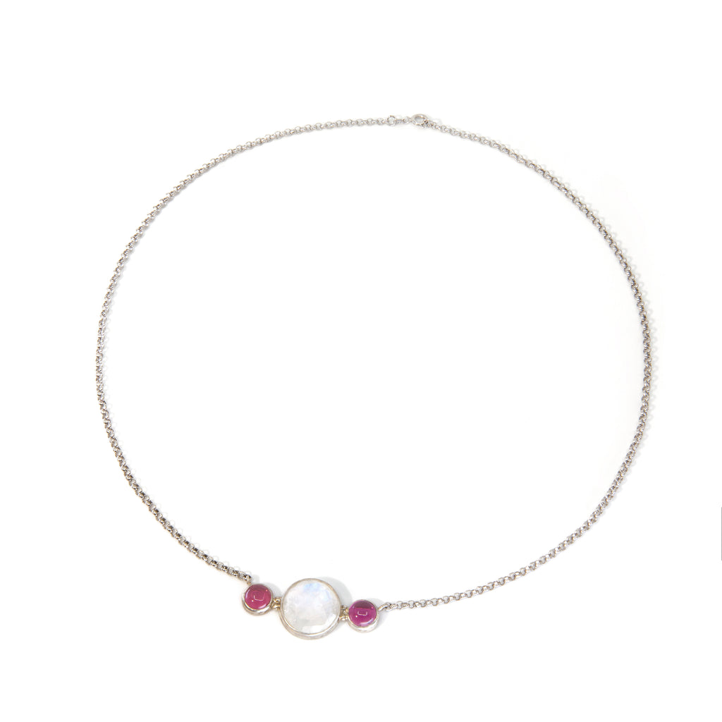 Blue Moonstone 38.2 ct with Pink Tourmaline Handcrafted Sterling Silver Necklace