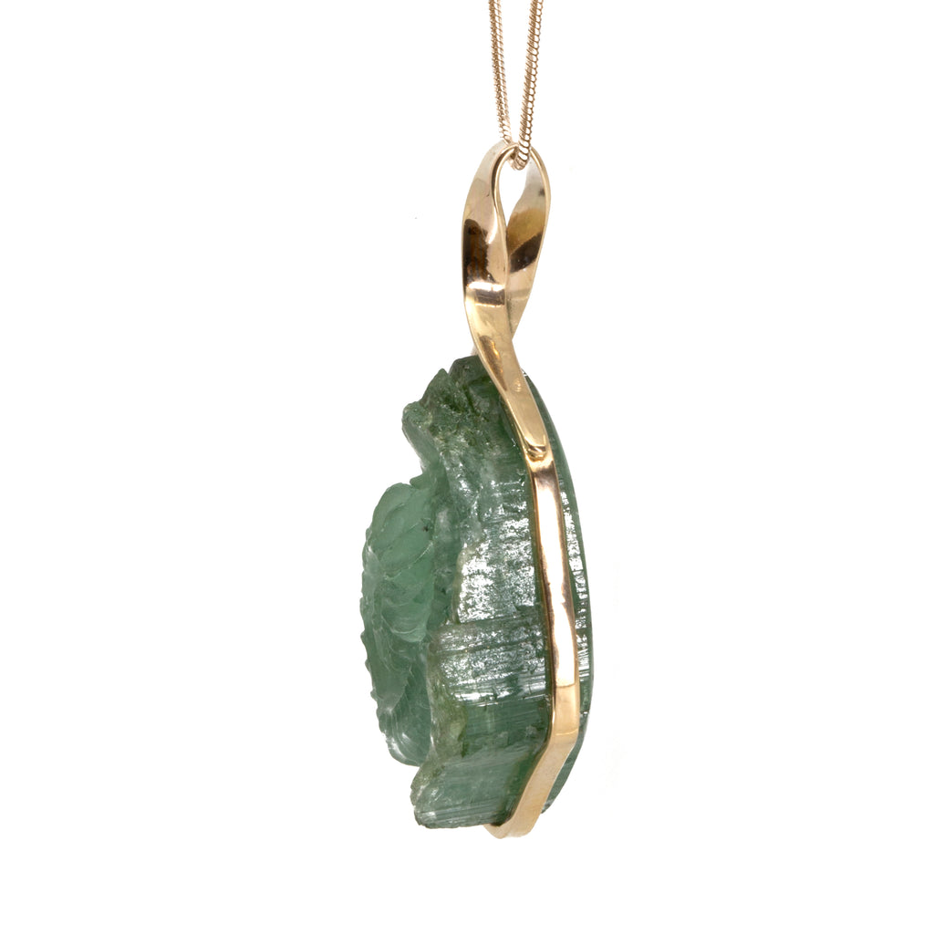 Green Tourmaline 58.41ct Carved Nautilus Handcrafted 14k Pendant