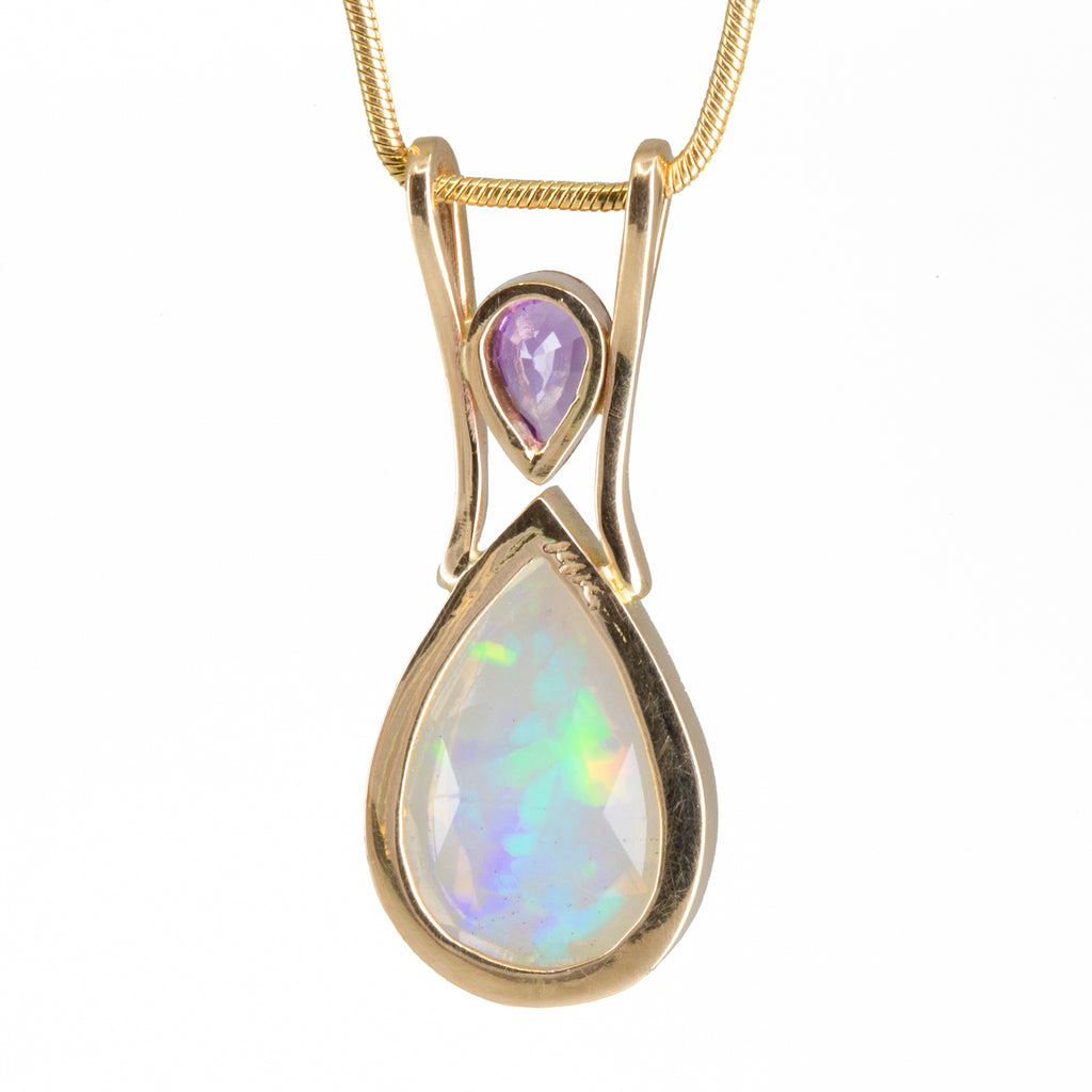 Opal 2.22ct Faceted Gem with Pink Sapphire Handcrafted 14k Pendant