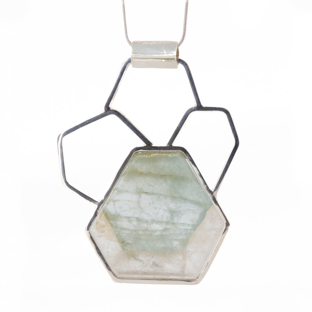 Aquamarine in Quartz 21.88ct Crystal Slice Handcrafted Sterling Silver Honeycomb Pendant