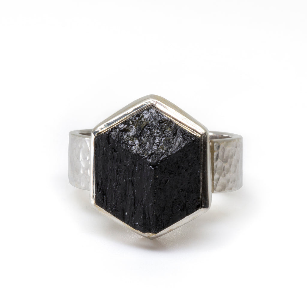 Black Tourmaline 9.3ct Natural Crystal Handcrafted Sterling Silver Ring