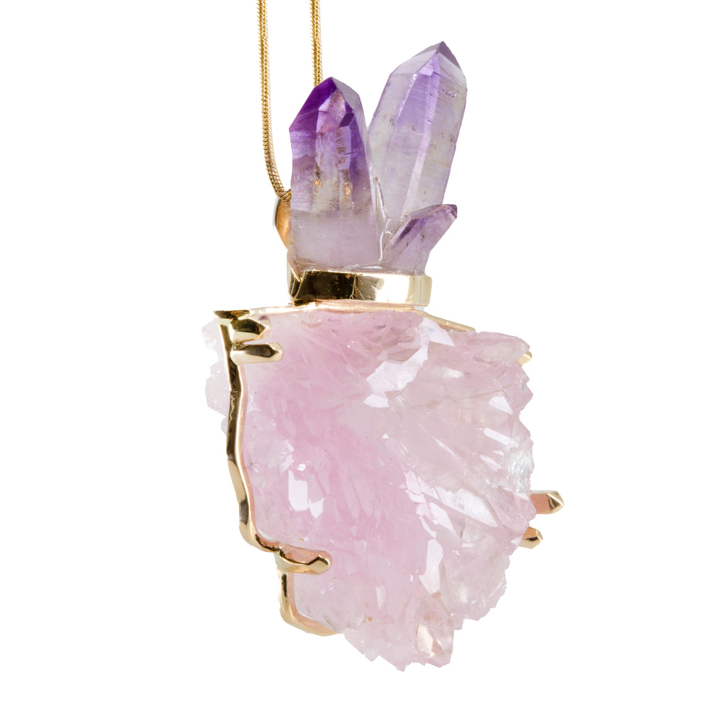 Rose Quartz Natural Crystal with Amethyst Cluster 14k Handcrafted Pendant