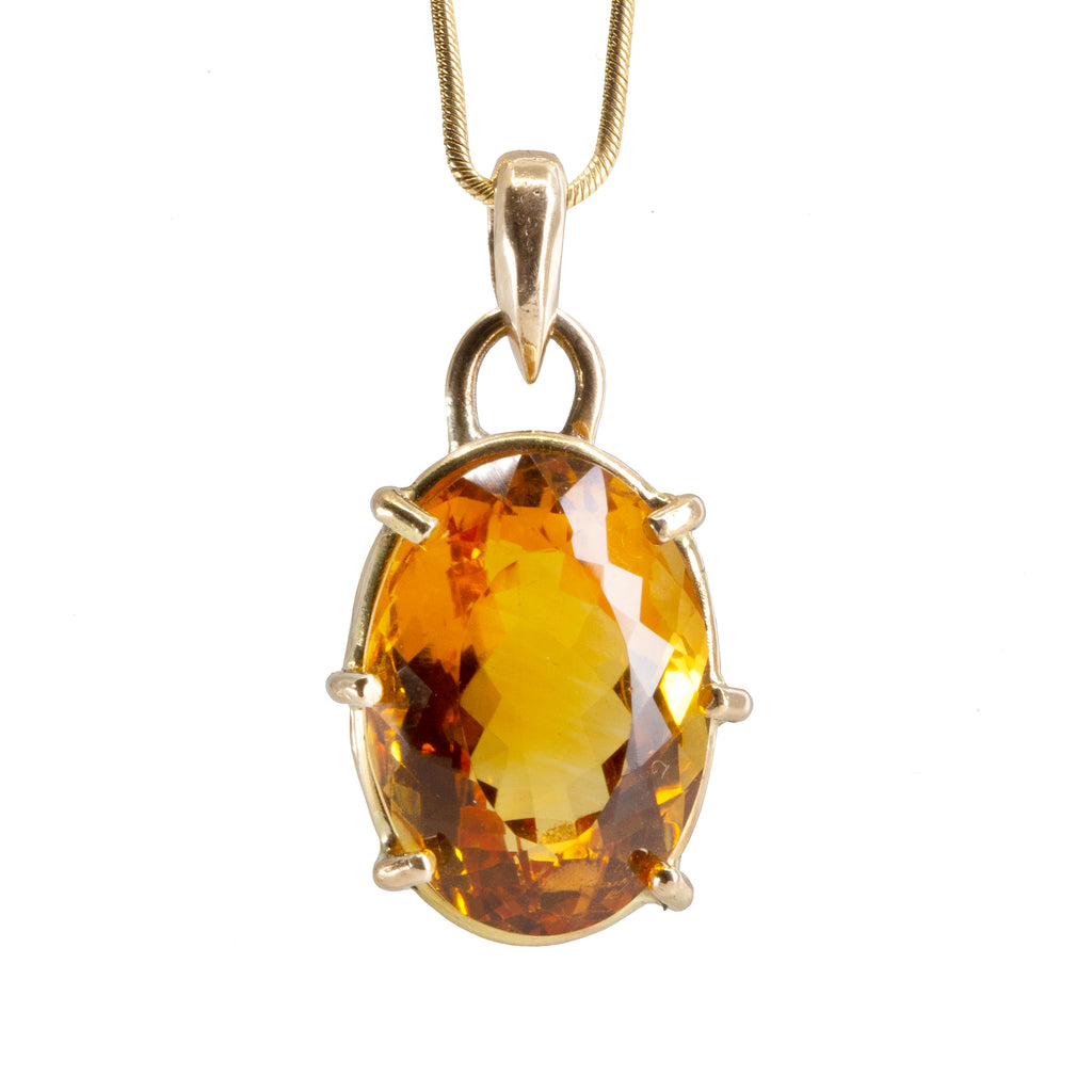Citrine 16.43 carat Faceted Handcrafted 14k prong Pendant
