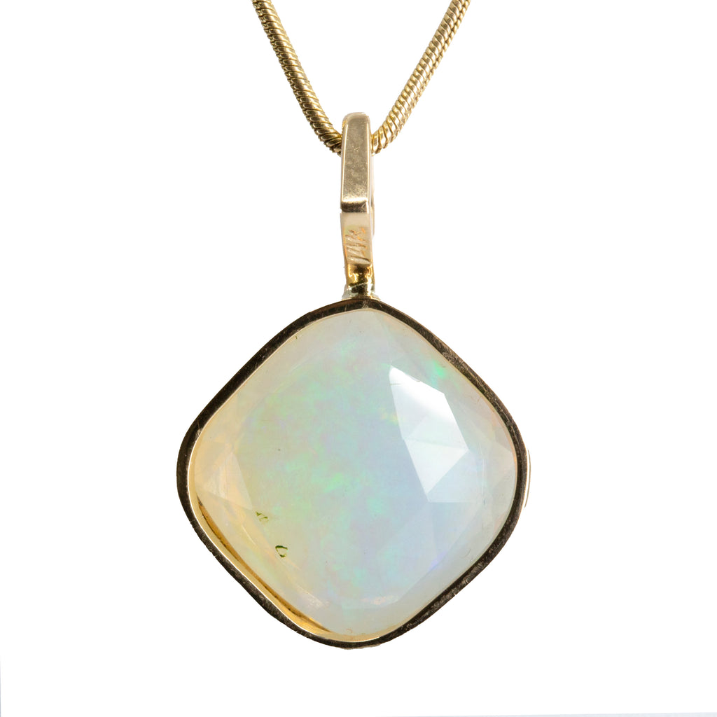 Opal 6.54 carat 16.7 mm Rosecut Handcrafted 14k Pendant