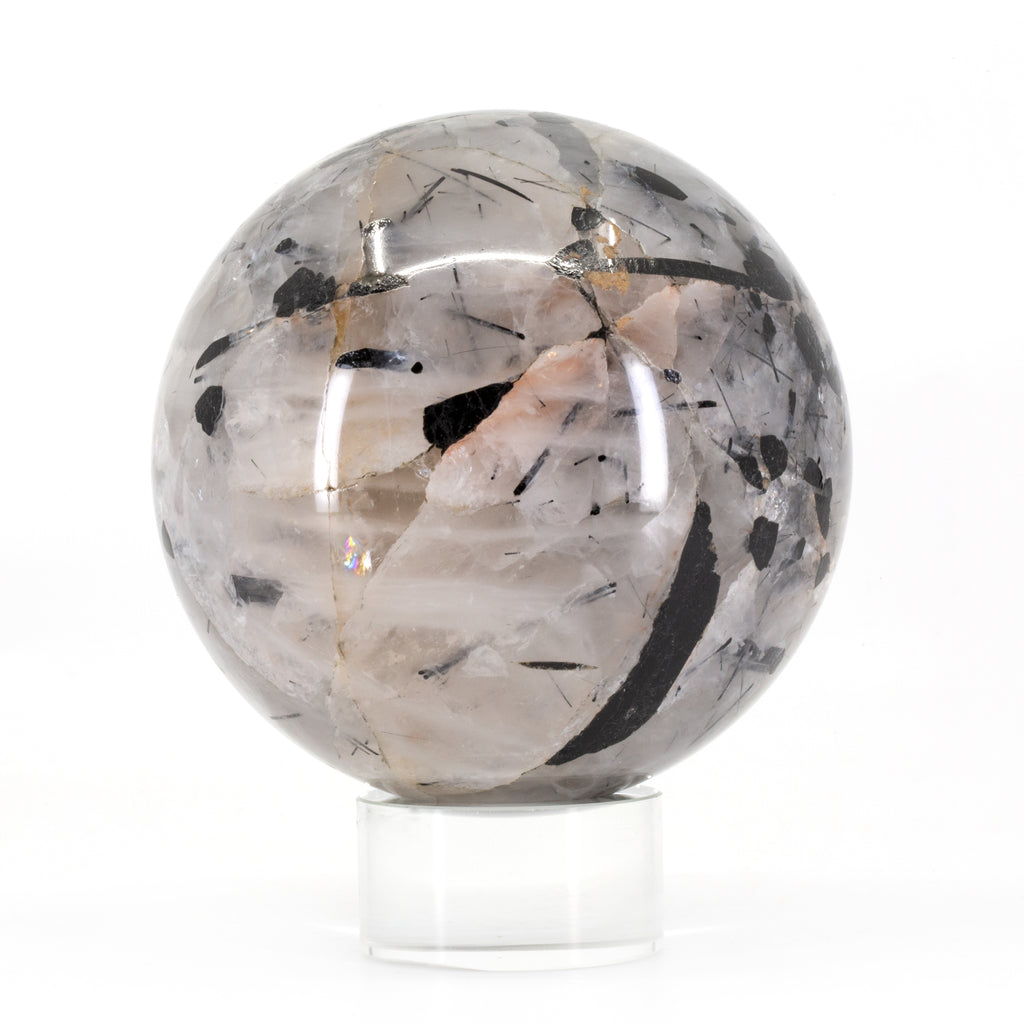 Black Tourmaline in Quartz 3.4 inch Polished Crystal Sphere - India