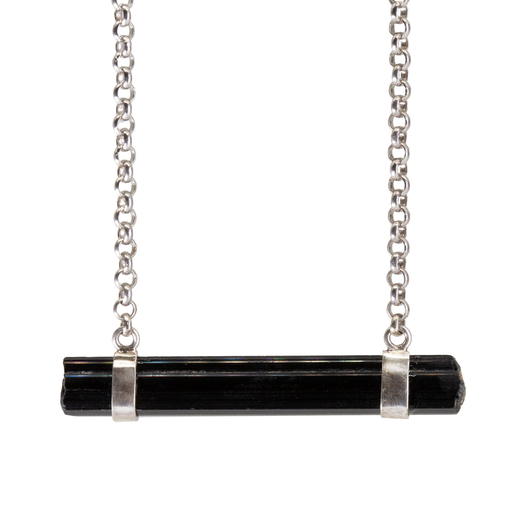 Black Tourmaline 11.6 ct Horizontal Natural Crystal Handcrafted Sterling Silver Necklace
