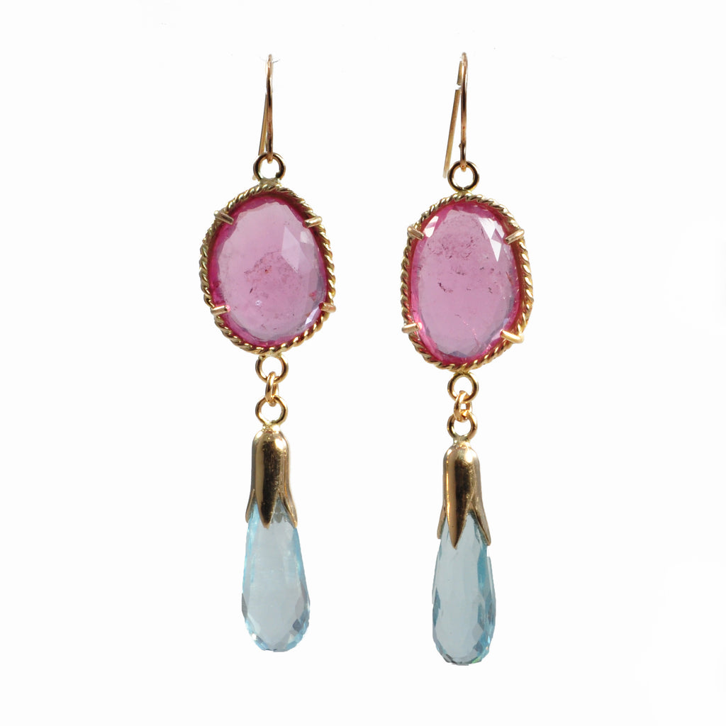 Pink Tourmaline 14.73 ct with Aquamarine 11.19 ct Handcrafted 14K Briolette Gemstone Earrings