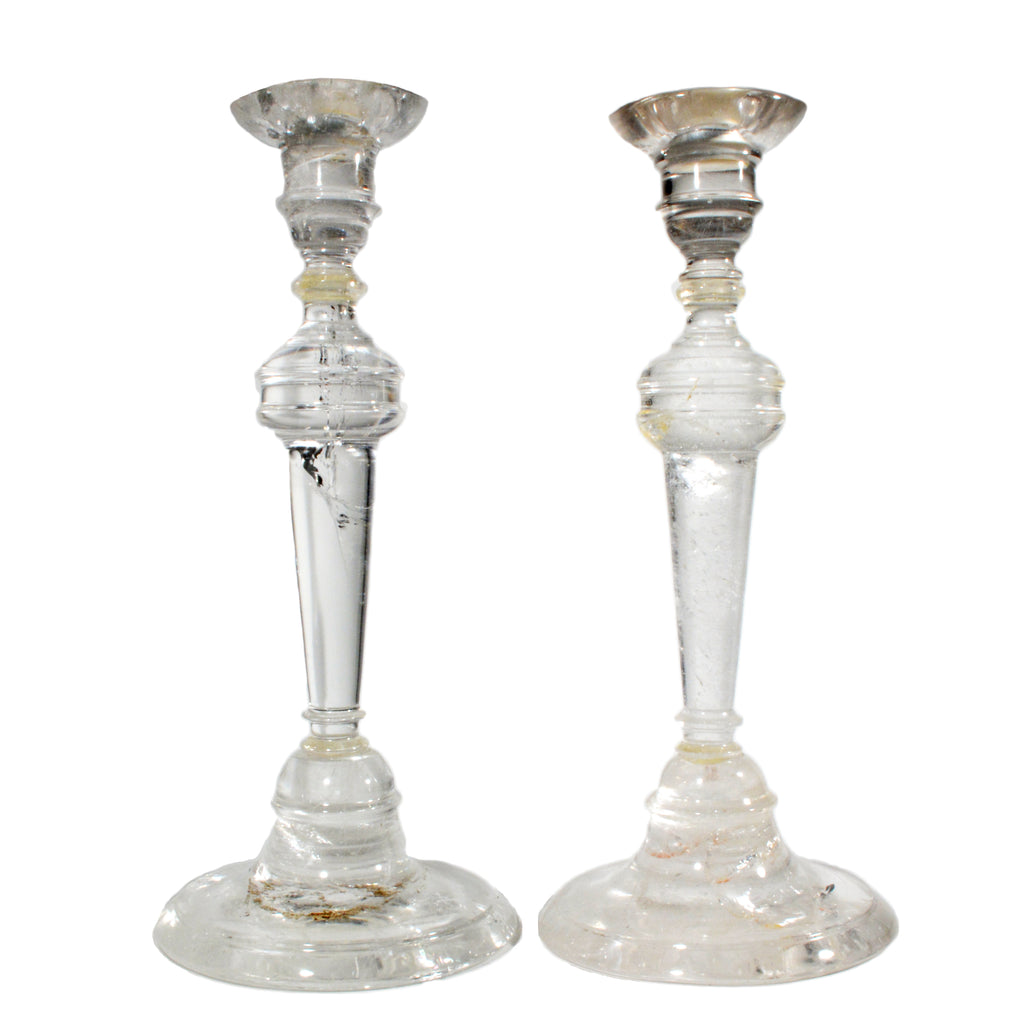 Quartz 10.3 inch Clear Crystal Candlesticks