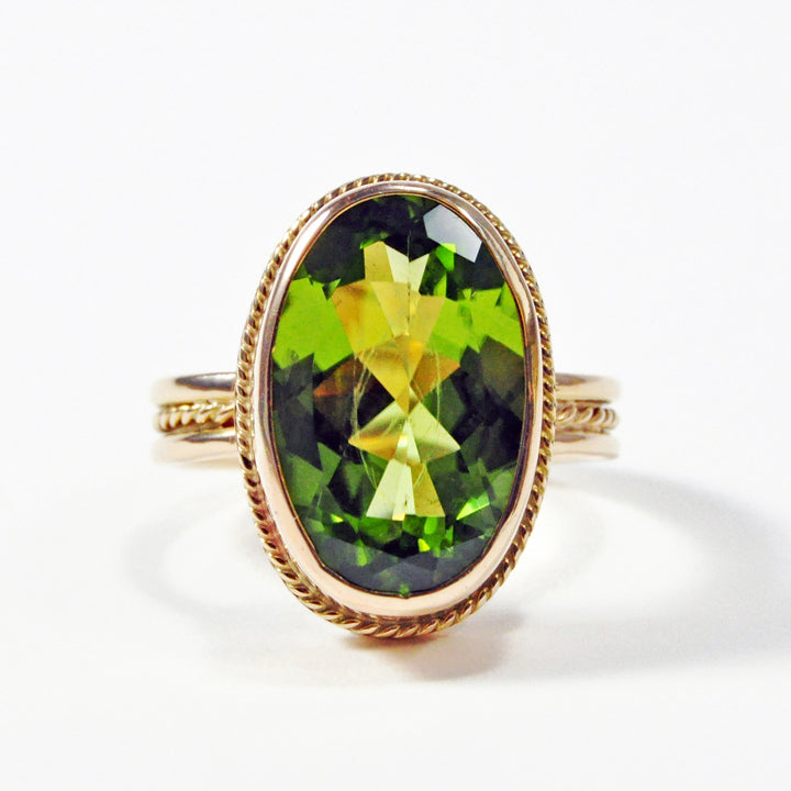 Peridot 7.23 carat 16.24 mm Faceted Gemstone 14K Handcrafted Ring