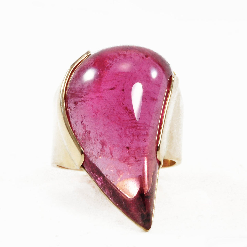 Rubelite Tourmaline Freeform Cabochon 22.75ct Handcrafted 14k Gold Ring