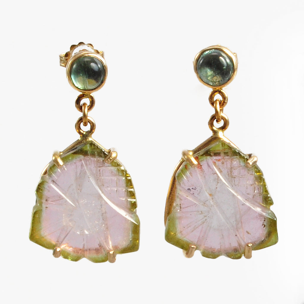 Watermelon Tourmaline 28.0mm 19.2 ct Floral Carving Handcrafted 14K Gemstone Earrings