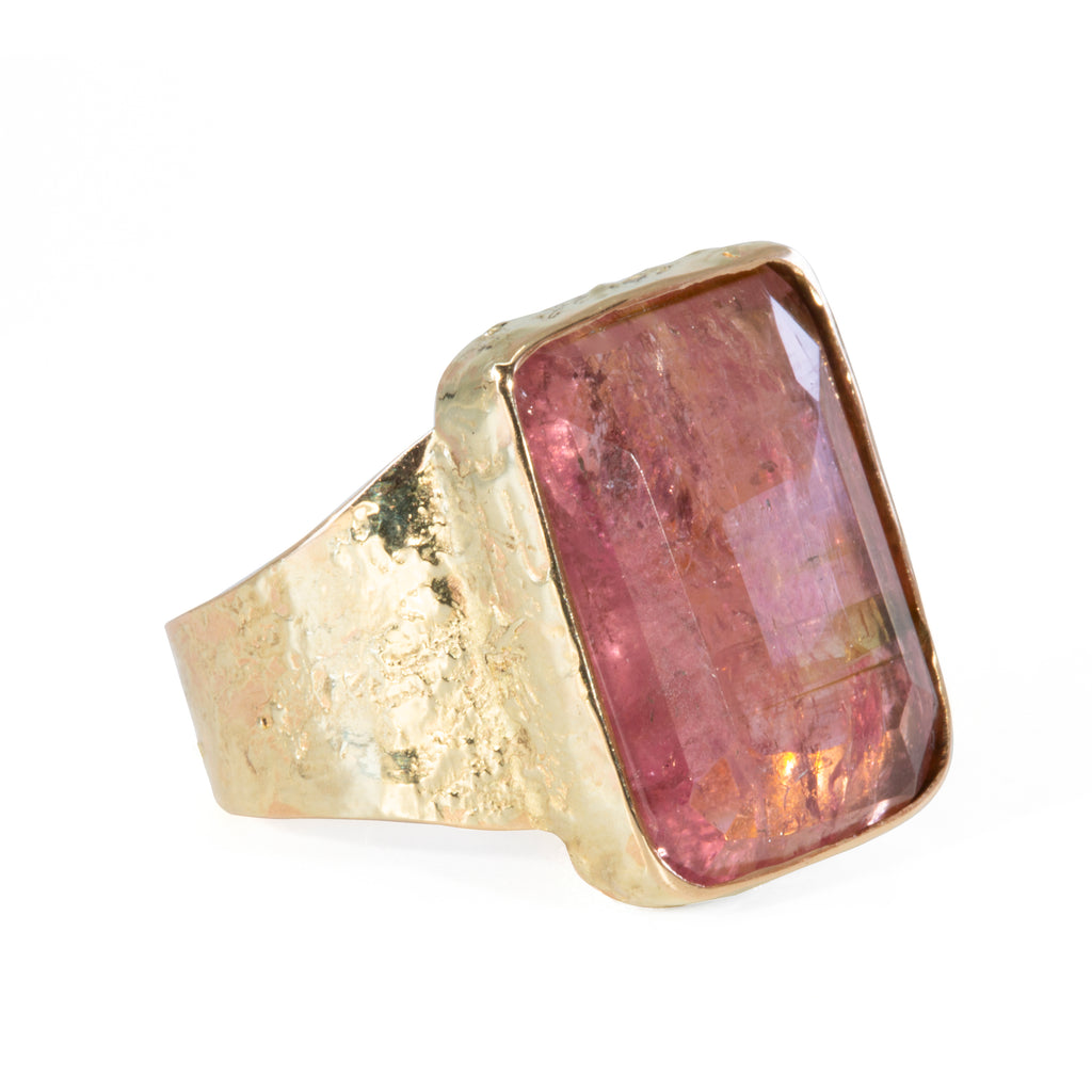 Pink Tourmaline 11.82 carat Rose Cut Handcrafted 14k Ring