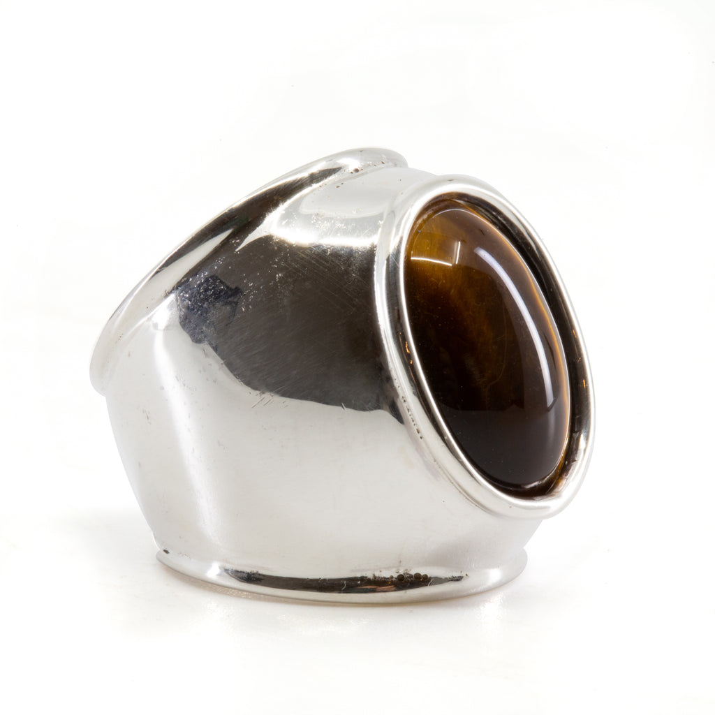 Tiger's Eye 16.32 ct Cabochon Handcrafted Sterling Silver Ring