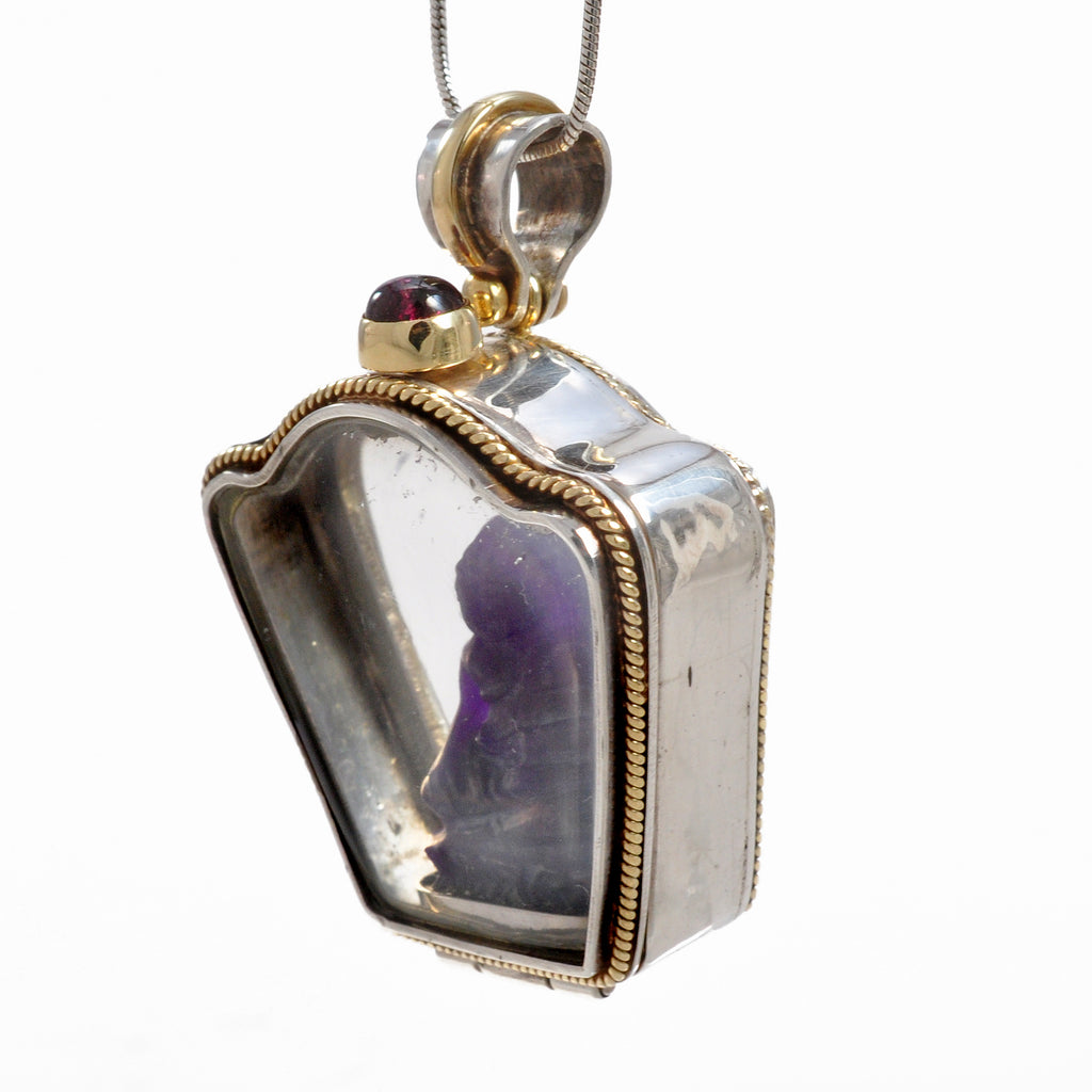 Sugilite 24.2 mm Buddha Carving in Sterling Silver and 18K Handcrafted Vessel Pendant