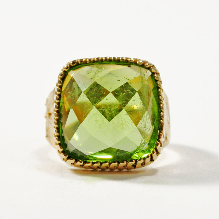 Peridot 13.68 carat 14.22 mm Faceted Rosecut Gemstone 18K Handcrafted Ring
