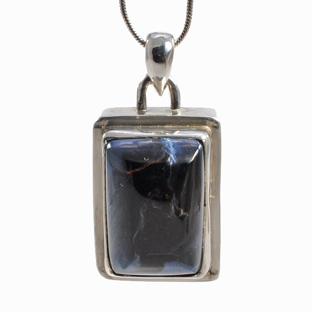 Pietersite 16.74 mm 16.98 ct Rectangle Cabochon Sterling Silver Handcrafted Pendant
