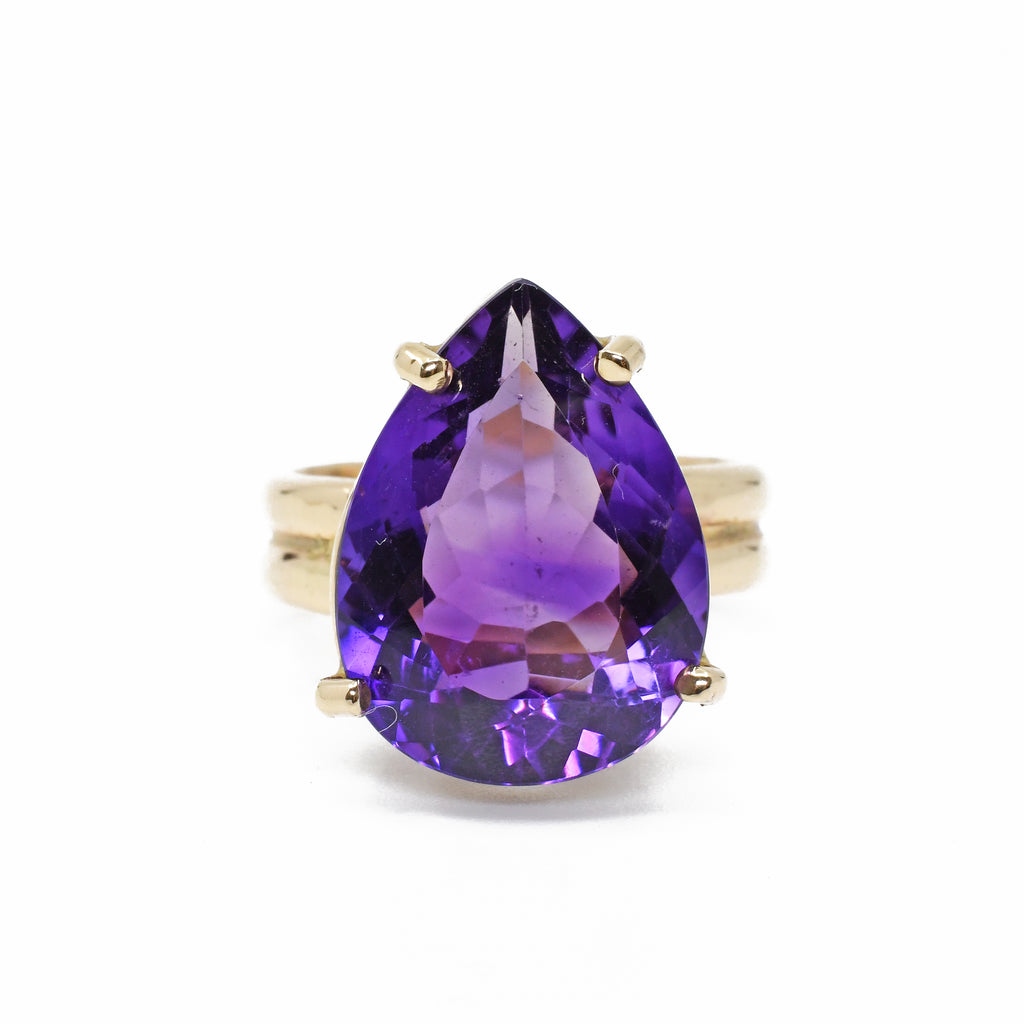 Amethyst 9.43ct Faceted 14k Handcrafted Gemstone Ring