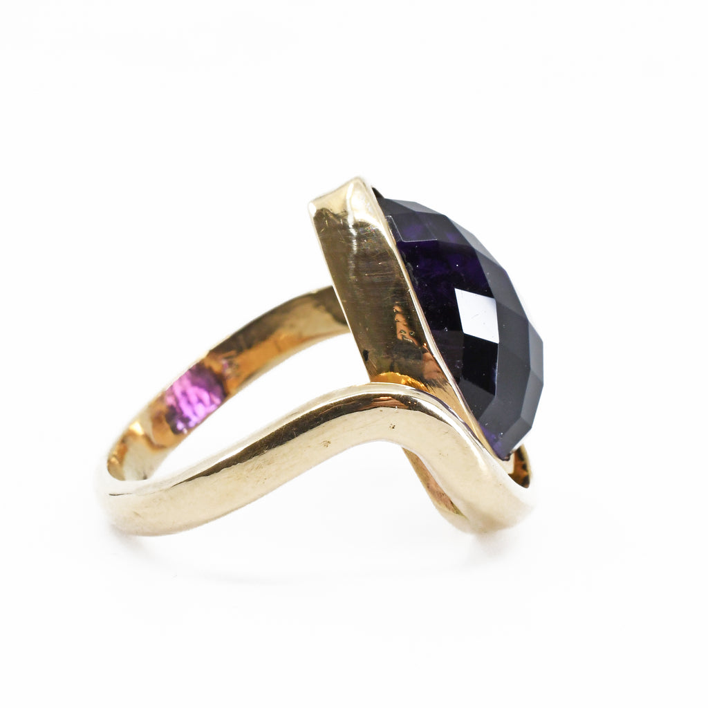 Amethyst 10.92ct Faceted Teardrop Handcrafted 14k Gemstone Ring