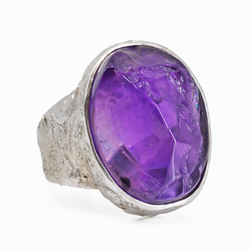 Amethyst 19.59 mm 21.09 carat Rough Surface Cabochon Sterling Silver Handcrafted Ring