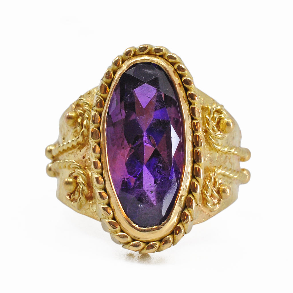 Amethyst 6.71 carat 22.13 mm Faceted Russian Bezel 18K Handcrafted Ring
