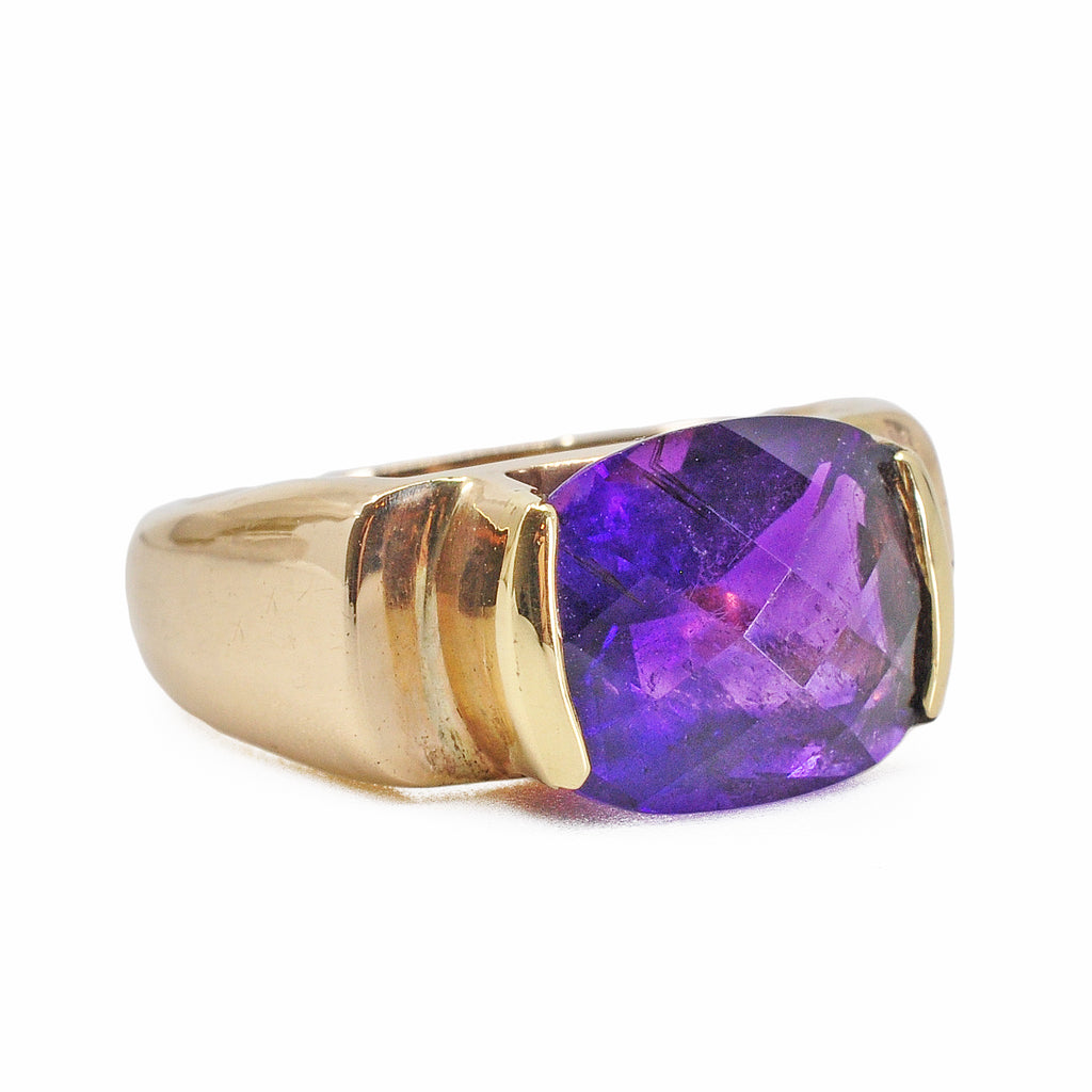 African Amethyst 12.01 mm 4.22 ct Faceted Cushion 14K Handcrafted Gemstone Cantilever Ring