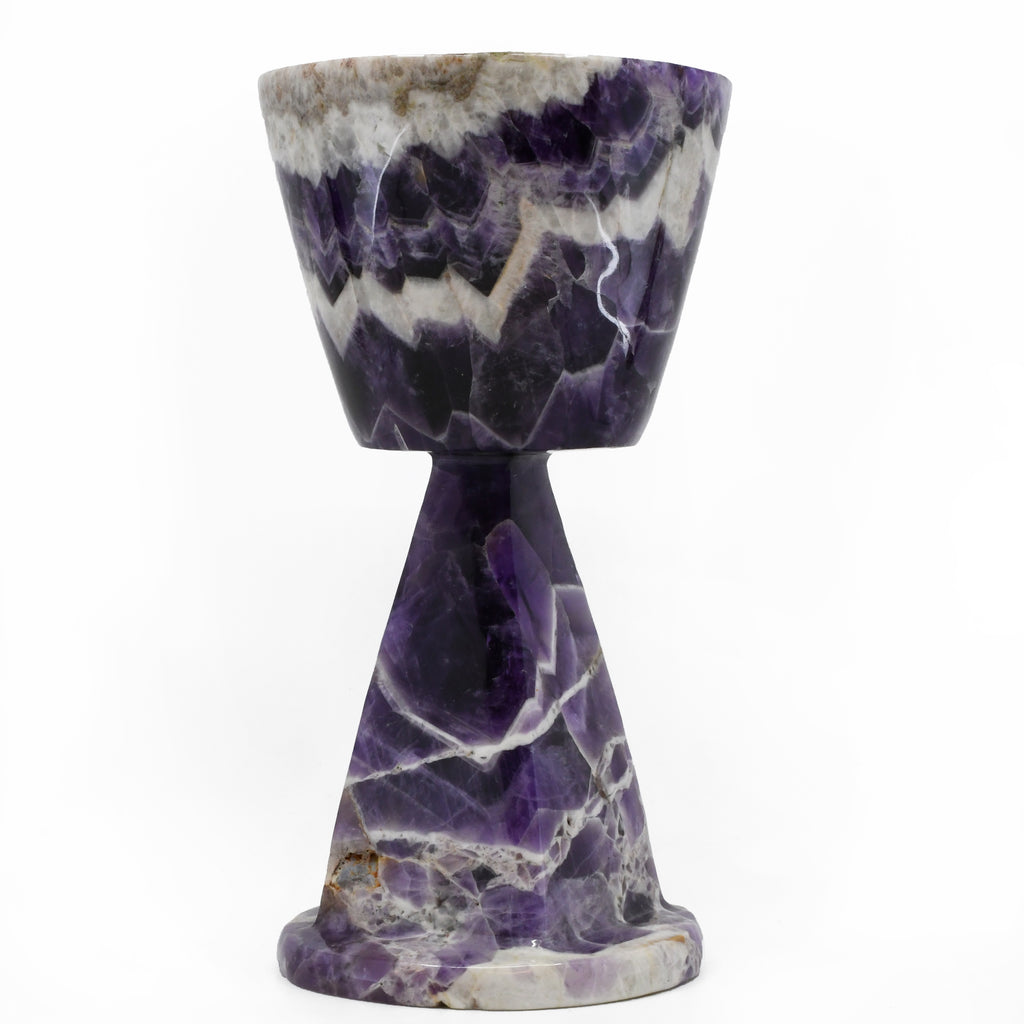 Chevron Amethyst 6 inch Carved Goblet