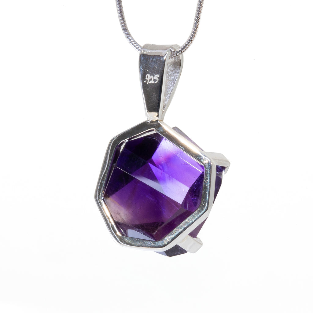 Amethyst 14.68 carat Polished Freeform Crystal Handcrafted Sterling Silver Pendant