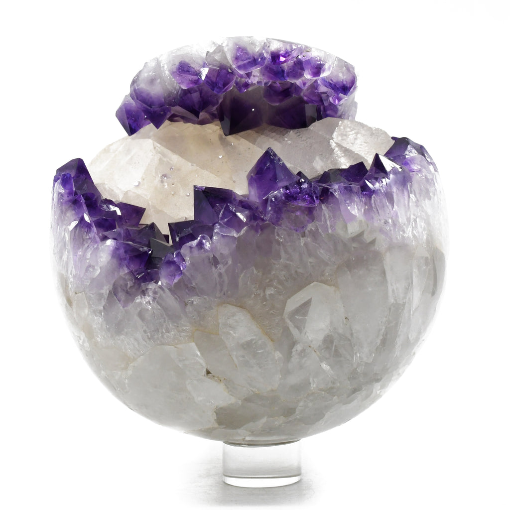 "Amethyst Geode with Calcite 7"" inch Polished Sphere"