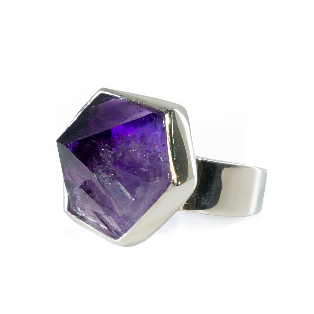 Amethyst 14.89 carat Natural Crystal Handcrafted Sterling Silver Ring