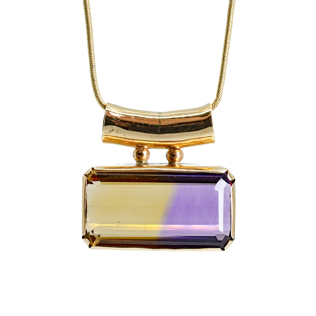 Ametrine Faceted 19.24ct 14k Gold Handcrafted Pendant