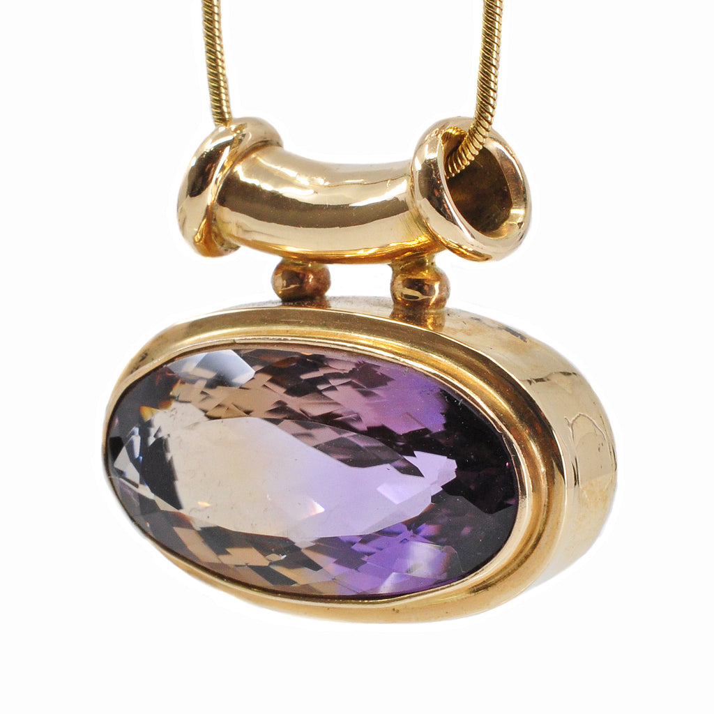 Ametrine 25.61 mm 12.60 ct Faceted Oval 14K Handcrafted Gemstone Pendant