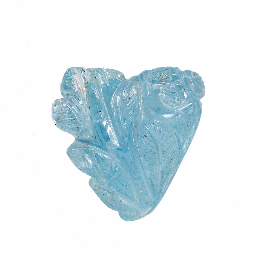 Aquamarine 0.91 inch 7.8 gram Natural Gem Crystal Leaf Carving