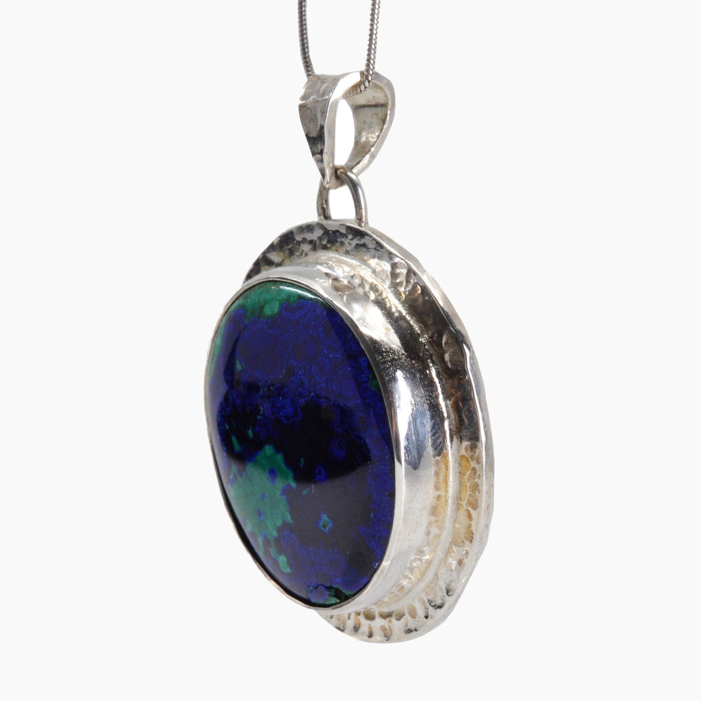 Azurite with Malachite 25.35 mm 40.86 carats Oval Cabochon Sterling Silver Handcrafted Pendant
