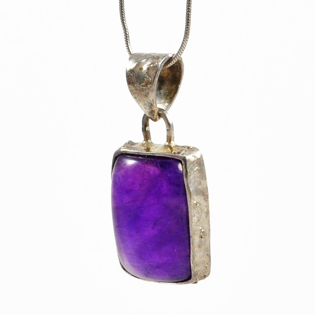 Amethyst 16.99ct 19.47mm Rectangle Cabochon Sterling Silver Handcrafted Gemstone Textured Pendant