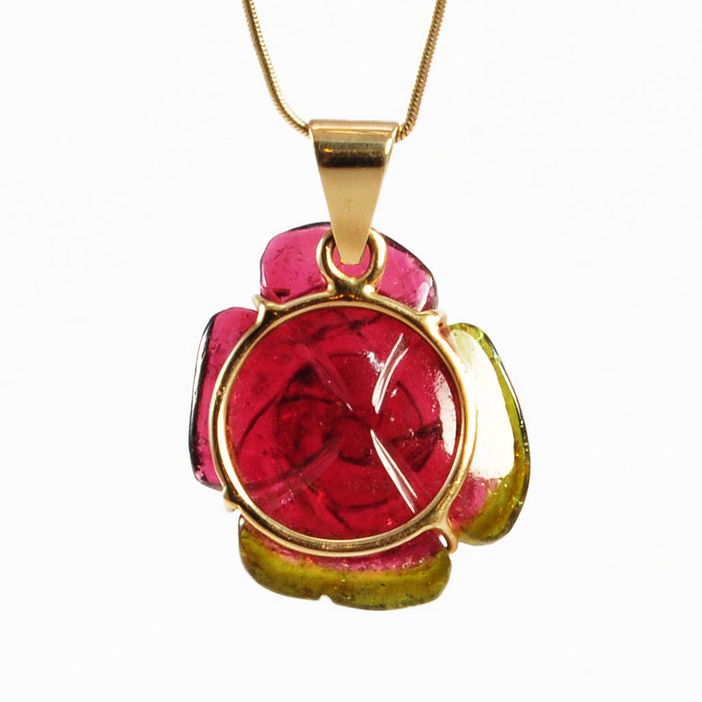Pink and Green Tourmaline 32 ct 14k Carved Gemstone Rose Pendant